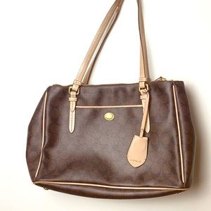 Coach | Coated Logo Leather Tote GUC